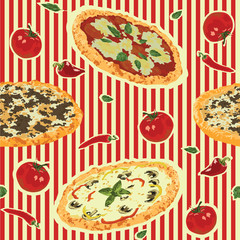 seamless background with pizza