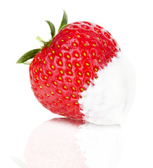 juicy strawberries with cream on the white background