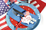 Happy Fourth of July dining table place setting