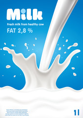Pouring Milk Splash, Milk wave, blue background