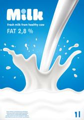 Pouring Milk Splash, Milk wave, blue background