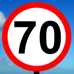 70 mph speed limit sign