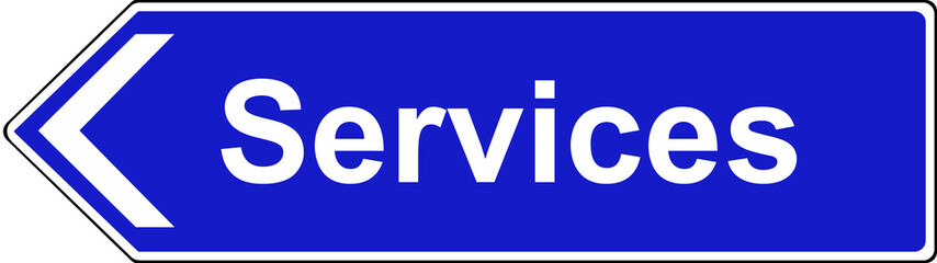 Final sign for service area motorway sign