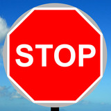 Manually operated temporary stop sign poster