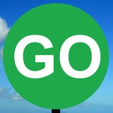 Manually operated temporary go sign poster