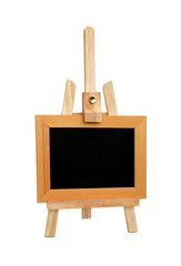 Easel and black board.