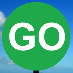 Manually operated temporary go sign