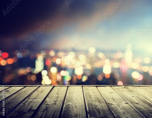 Poster wooden platform and lights of night Hong Kong