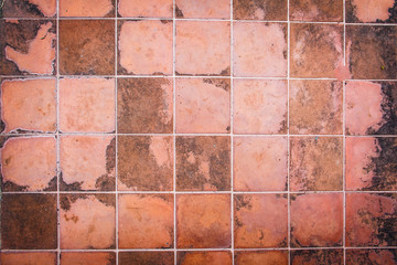 brown ceramic wall tiles and details of surface
