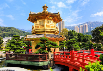 Golden pavilion of absolute perfection in Nan Lian Garden in Chi