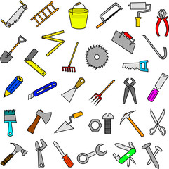 set of construction tools design elements