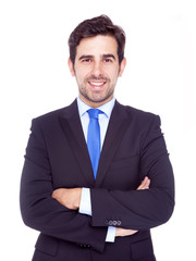Portrait of happy smiling business man, isolated on a white back
