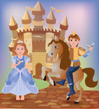 Little Cinderella and prince, vector illustration poster
