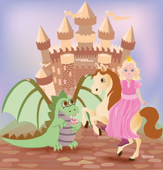 Little princess and cute dragon, vector illustration