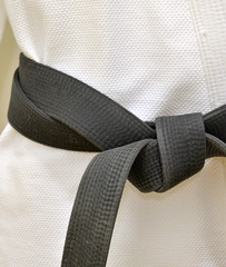 Karate Blackbelt on White Uniform