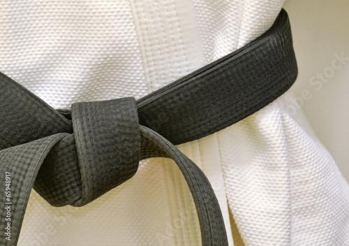 Tuinposter Gymnastiek Karate Black Belt on White Uniform