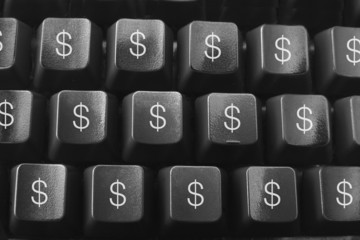Computer Keyboard with Dollar Symbols