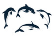 Set of silhouettes of   dolphin - 65949737