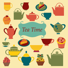 vintage  Background of Tea Time - Illustration