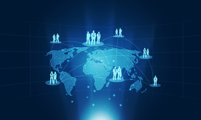 business conection people on global background