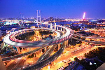 Spiral bridge in Shanghai Huangpu River on the bird's eye view o