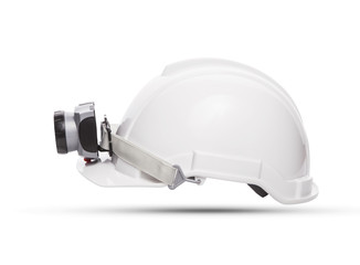 side view of white mining safety helmet with light lamp isolated