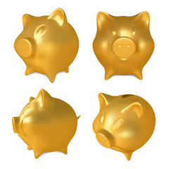 Set of Golden piggy bank.Vector illustration
