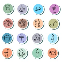 Food and drink doodles icons set