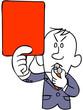 レッドカードを出すサッカーの審判(上半身)
