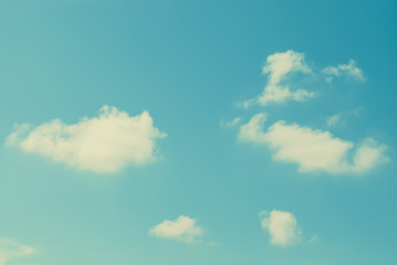 Vintage style. Clound in blue sky