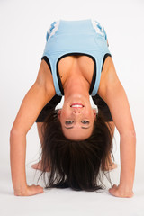 Beautiful Flexible Acrobatic Woman Arched Backwards Two Arms