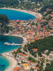 Aerial view on the village of Parga Greece