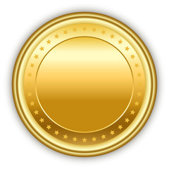 Round golden vector medal with stars.