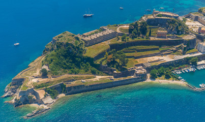Aerial view of Kerkyra Old Fortress, Corfu, Greece