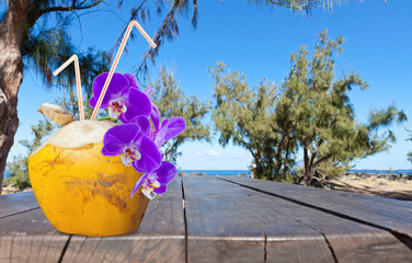 coco cocktail exotique sur table de pique-nique