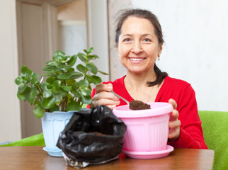 woman works with  flower pots