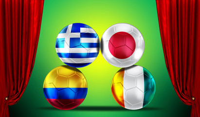 Soccer balls with group C teams flags Brazil 2014.