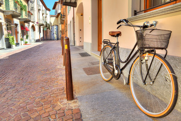Bicycle on the street of Alba, Italy.