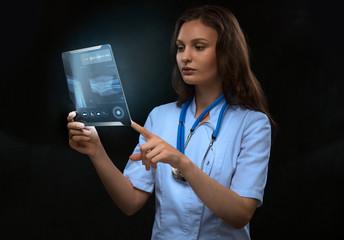 Doctor examining arm bones radiography tablet computer