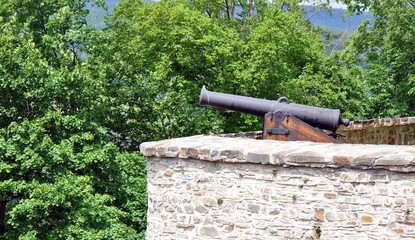 old military cannon in the castle