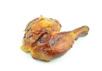 Chicken leg isolated on white