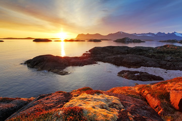 Ocean coast nice sunset in Norway - Senja