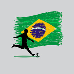 Soccer Player action with Brazil flag on background