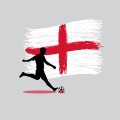 Soccer Player action with England flag on background