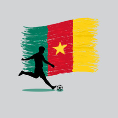 Soccer Player action with Republic of Cameroon flag on backgroun