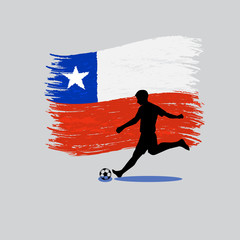 Soccer Player action with Republic of Chile flag on background
