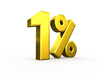 One percent symbol isolated on white background