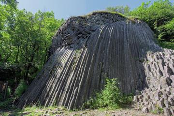 Basaltic pentagonal columns - geological formation of volcanic o