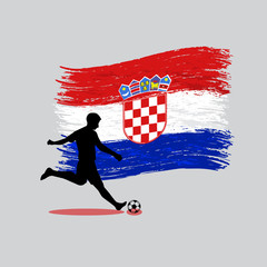 Soccer Player action with Republic of Croatia flag on background