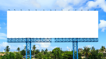 Blank billboard  against blue  sky  ready for new advertisement